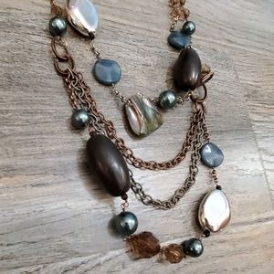 Chico's Jewelry - Bronze and blue pearl and stone necklace